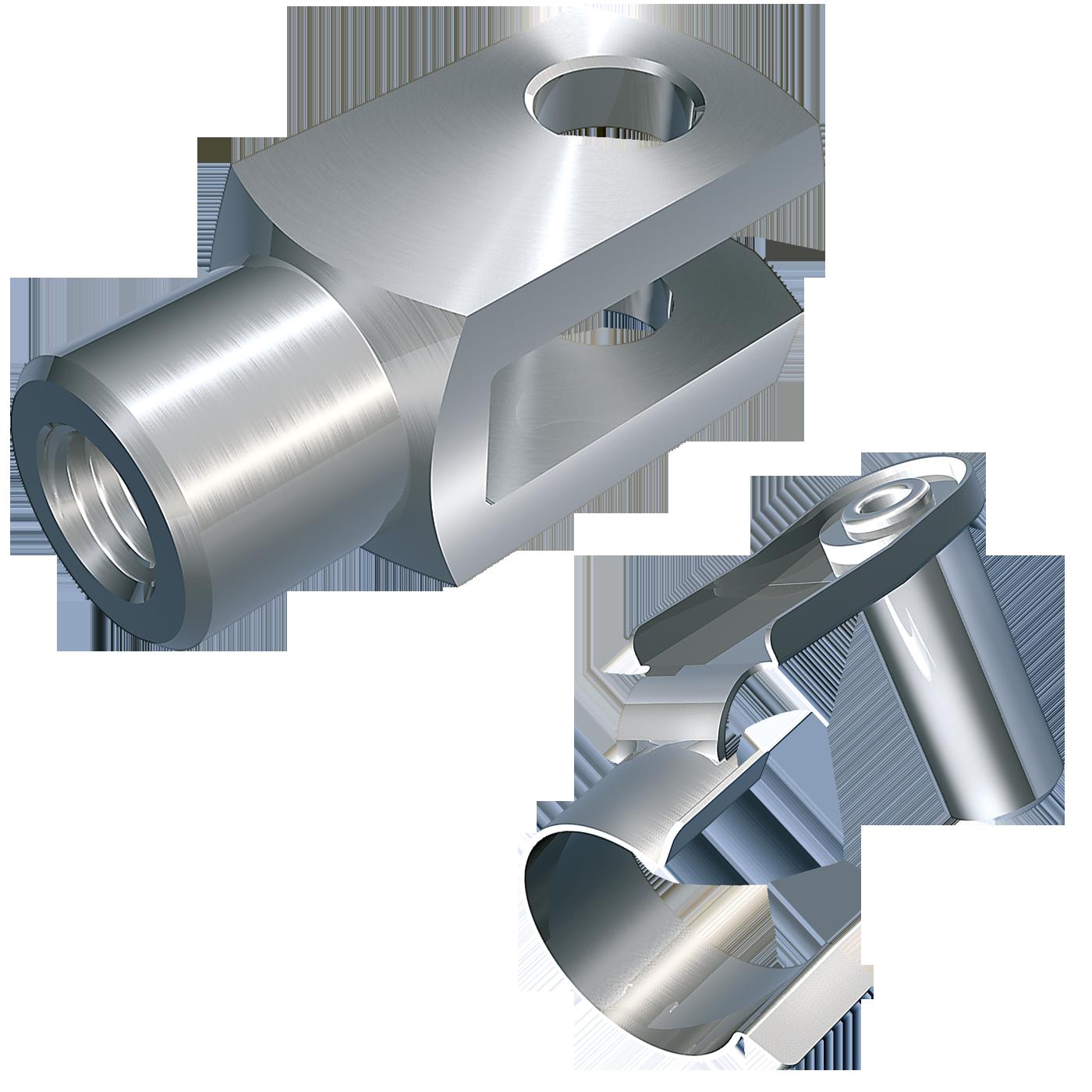 mbo Oßwald ist Hersteller von Gabelgelenk, Gabelgelenken, mbo-Norm AFKB, lose, bestehend aus Gabelkopf, Gabelköpfe, Gabelkoepfe, nach DIN 71752, DIN ISO 8140, CETOP RP102P und Federklappbolzen. Wir fertigen diese aus Stahl, 1.0718 bzw. die Federklappbolzen-Feder aus Federstahl.