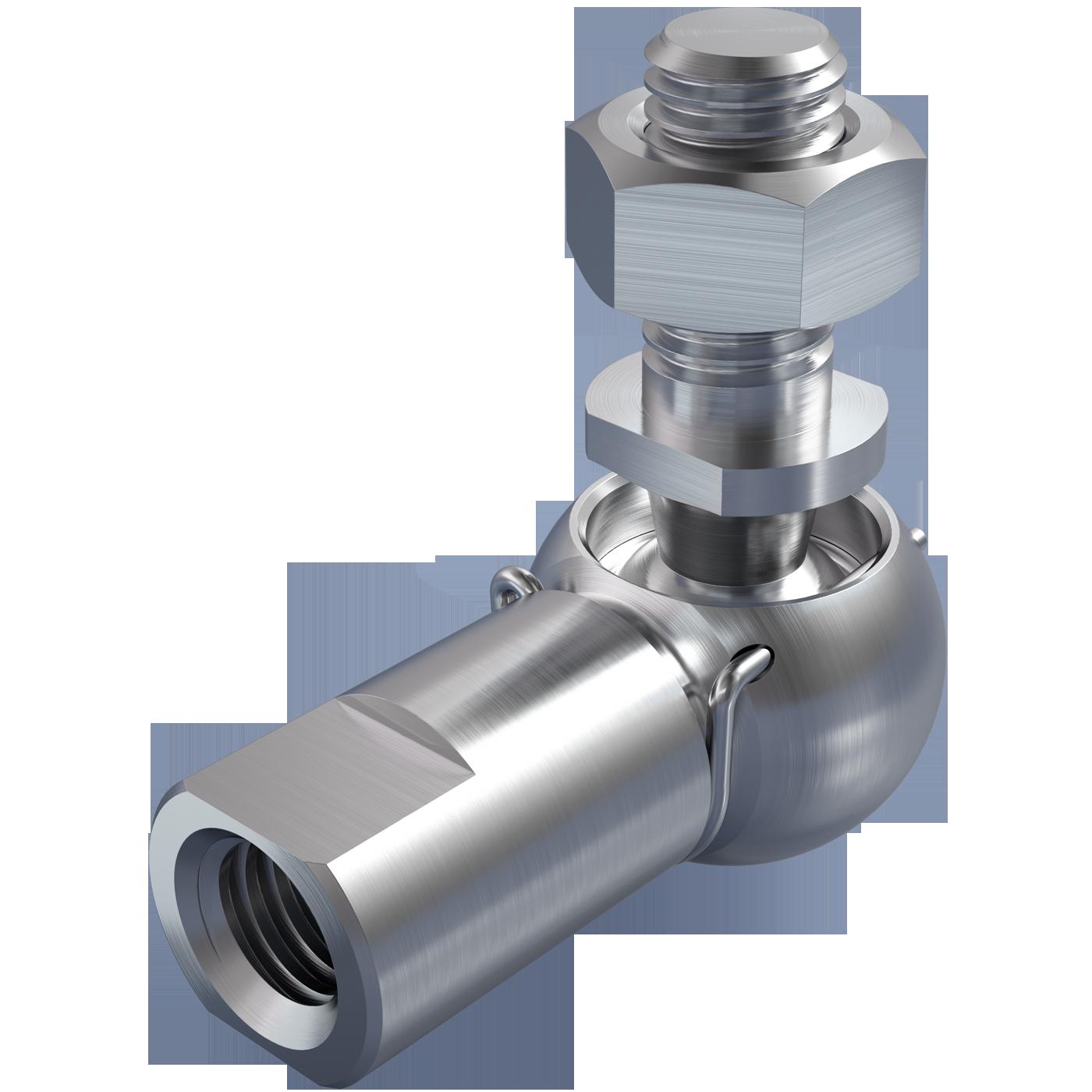 mbo Oßwald ist Winkelgelenk Hersteller, Winkelgelenke Hersteller, ähnlich DIN 71802 Form CS, mit Gewindezapfen und Schlüsselfläche an der Pfanne. Folgende Materialien stehen zur Auswahl: Stahl oder Edelstahl 1.4305, bzw. Edelstahl 1.4404, A4 Qualität.