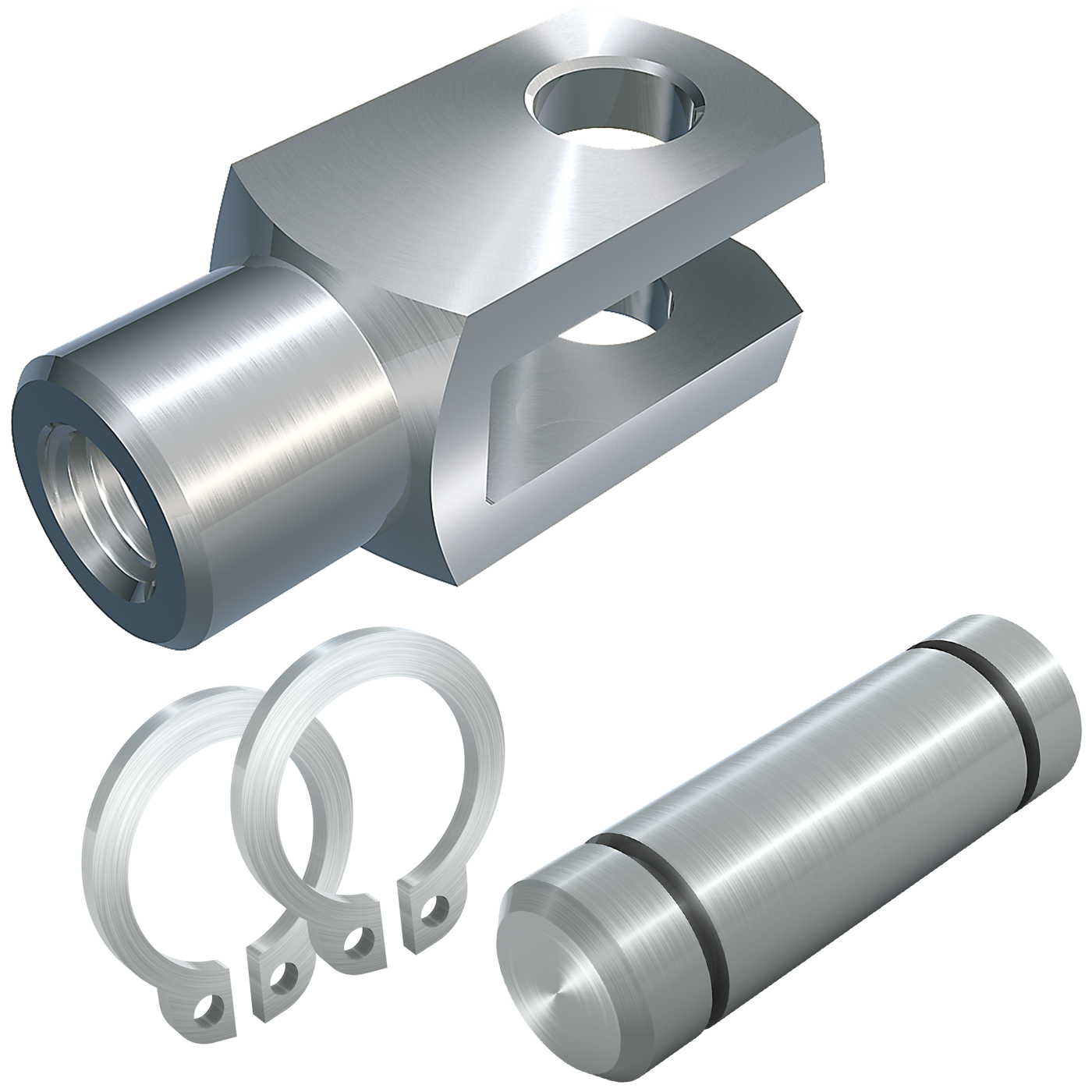 Clevis joints (similar to DIN 71751), with bolt with grooves and retaining rings DIN 471, loose