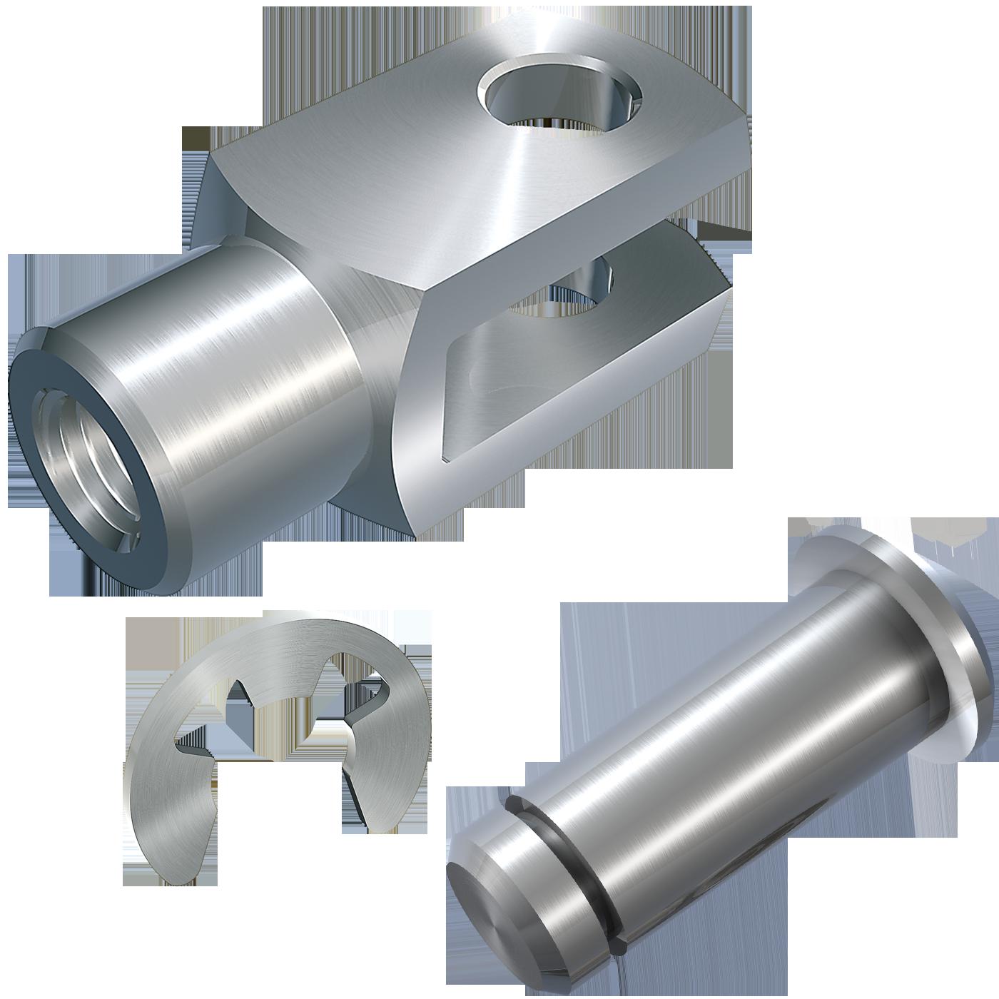 mbo Oßwald ist Hersteller von Gabelgelenk, Gabelgelenken mbo-Norm ABS, lose, bestehend aus Gabelkopf, Gabelköpfe, Gabelkoepfe, nach DIN 71752, DIN ISO 8140, CETOP RP102P und Bolzen mit Einstich und Sicherungsscheibe nach DIN 6799. Wir fertigen diese aus Stahl 1.0718 und Edelstahl 1.4305 und A4-Qualität 1.4404.
