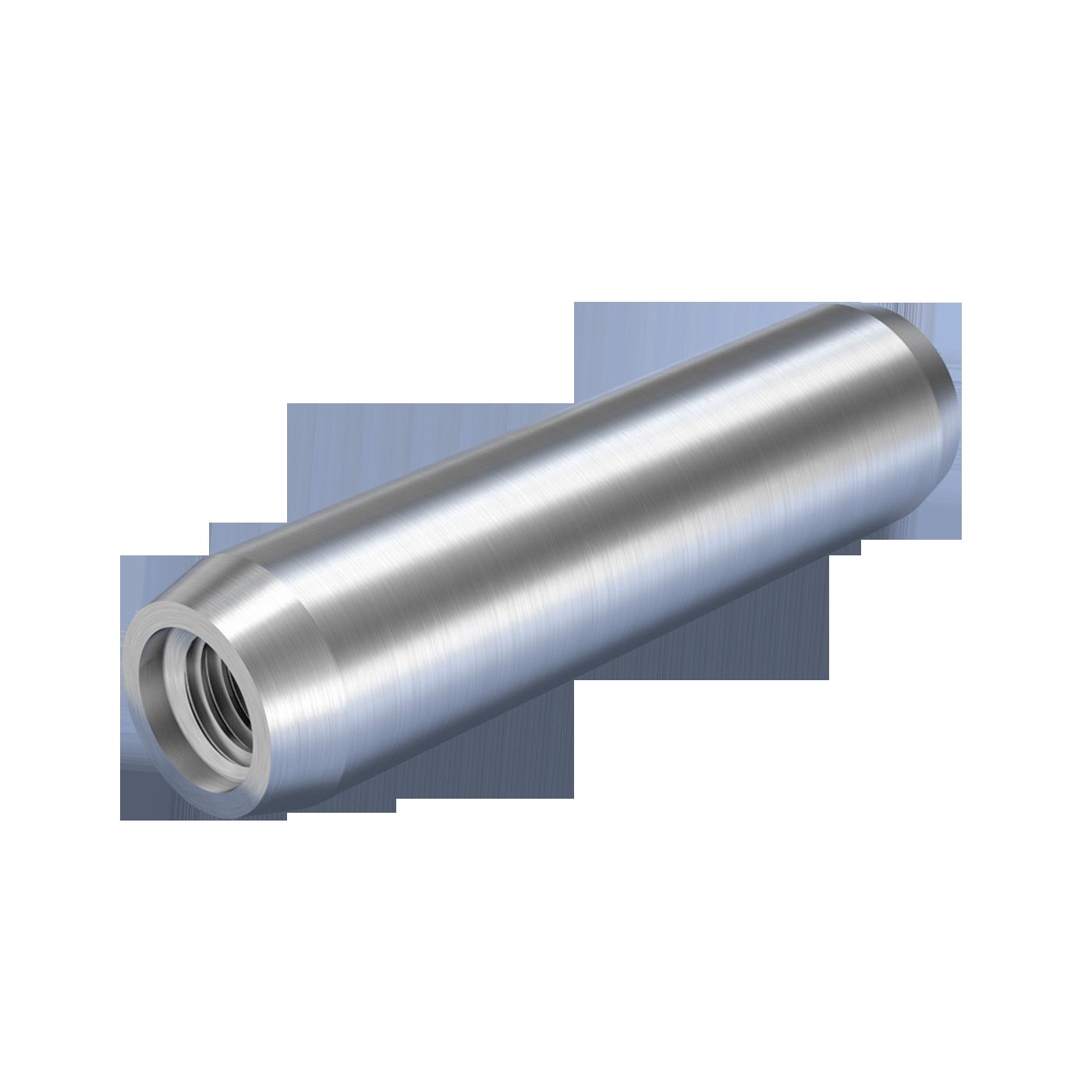 Zylinderstifte mit Innengewinde nach DIN EN ISO 8735 dienen der kraftschlüssigen lagesichernden Verbindung von Bauteilen. Geliefert werden die Teile aus gehärtetem Stahl oder martensitischem nichtrostendem Stahl.