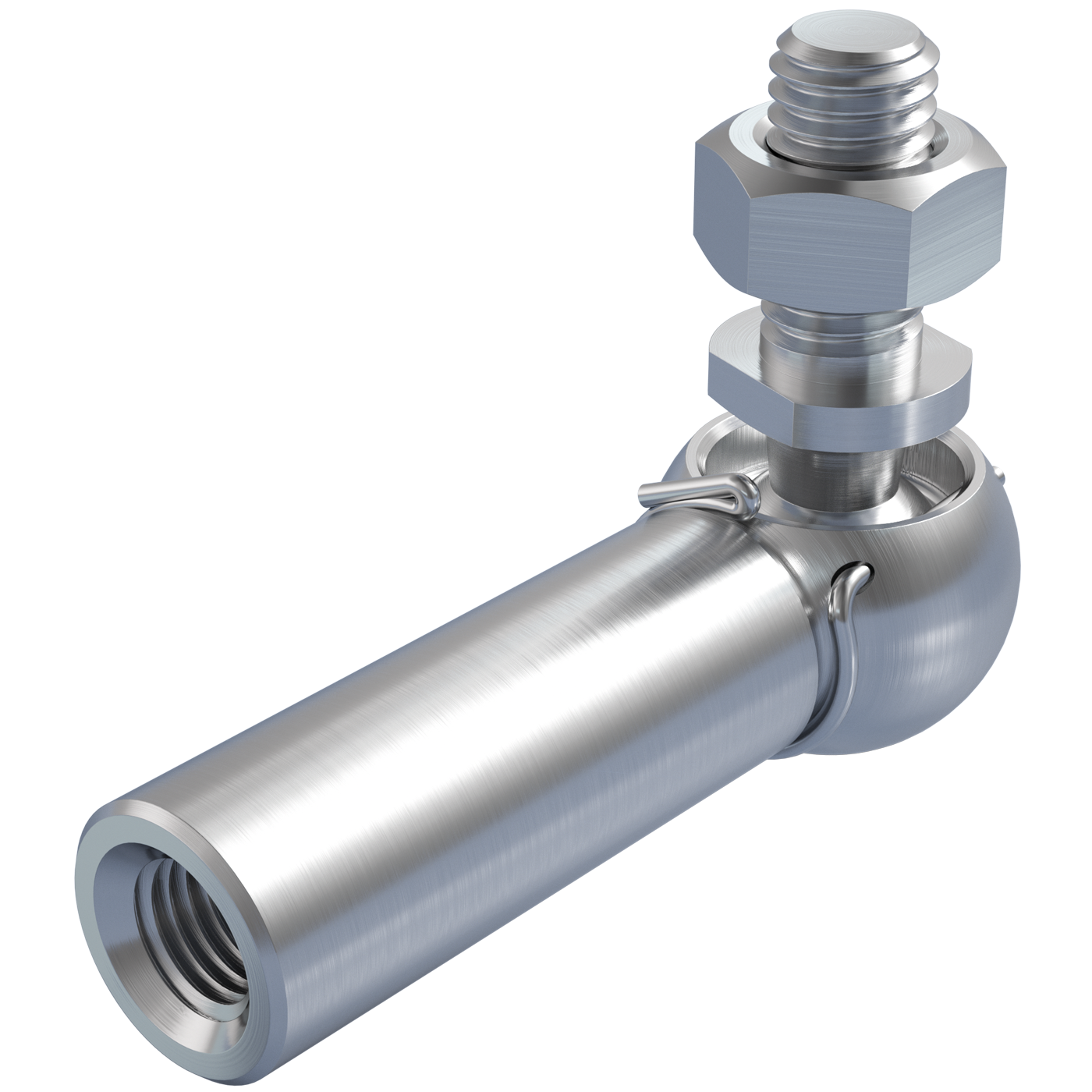 mbo Oßwald ist Winkelgelenk Hersteller, Winkelgelenke Hersteller, ähnlich DIN 71802 Form CS, mit Gewindezapfen und langer Kugelpfanne. Folgende Materialien stehen zur Auswahl: Stahl oder Edelstahl 1.4305, bzw. Edelstahl 1.4404, A4 Qualität.