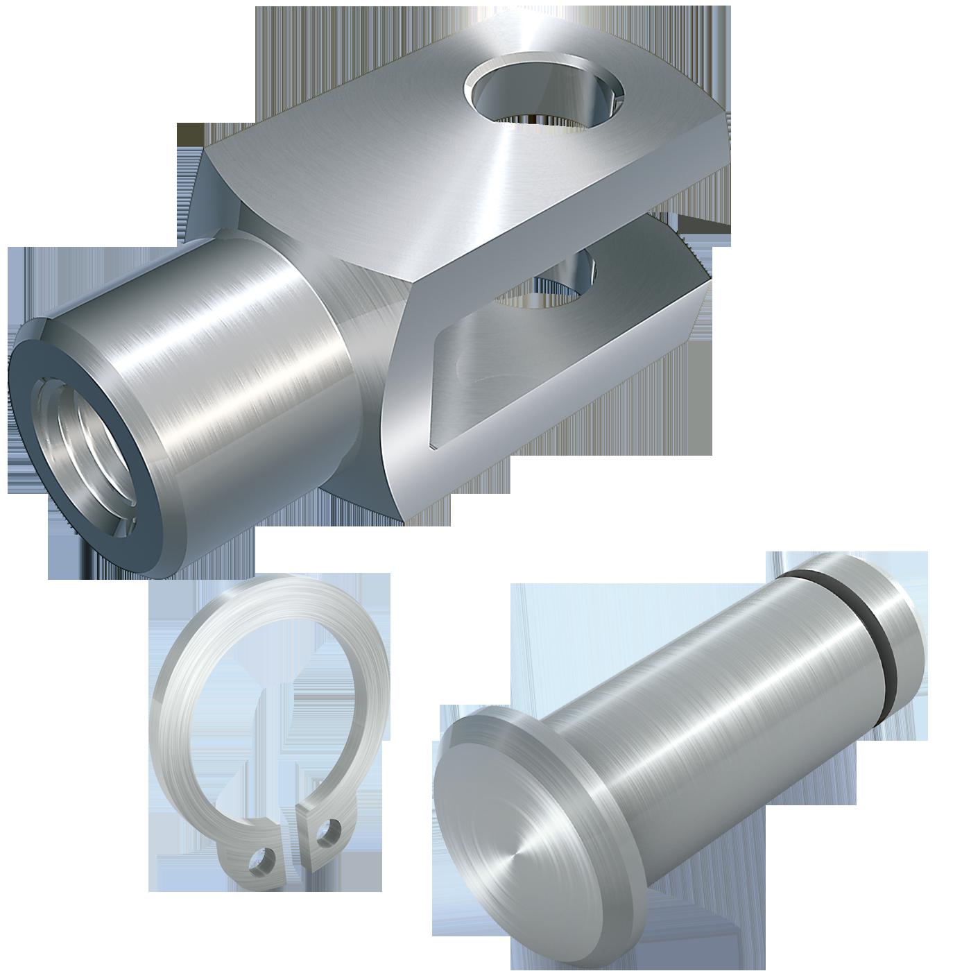 mbo Oßwald ist Hersteller von Gabelgelenk, Gabelgelenken mbo-Norm ABS 471, lose, bestehend aus Gabelkopf, Gabelköpfe, Gabelkoepfe, nach DIN 71752, DIN ISO 8140, CETOP RP102P und Bolzen mit Einstich und entsprechendem Sicherungsring nach DIN 471. Wir fertigen diese aus Stahl 1.0718 und Edelstahl 1.4305.