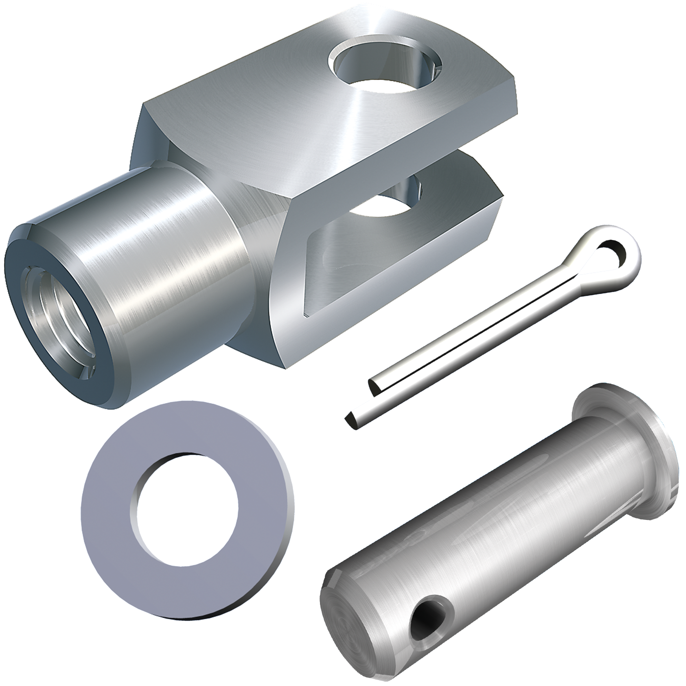 mbo Oßwald ist Hersteller von Gabelgelenk, Gabelgelenken in Ausführung als A-Gelenk, A-Gelenken, DIN 71751, lose, bestehend aus Gabelkopf, Gabelköpfe, Gabelkoepfe, nach DIN 71752, DIN ISO 8140, CETOP RP102P und Bolzen mit Splintloch, Scheiben DIN 125 und Splinte DIN 94. Wir fertigen diese aus Stahl 1.0718 und Edelstahl 1.4305 und A4-Qualität 1.4404.